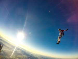 skydiving sun