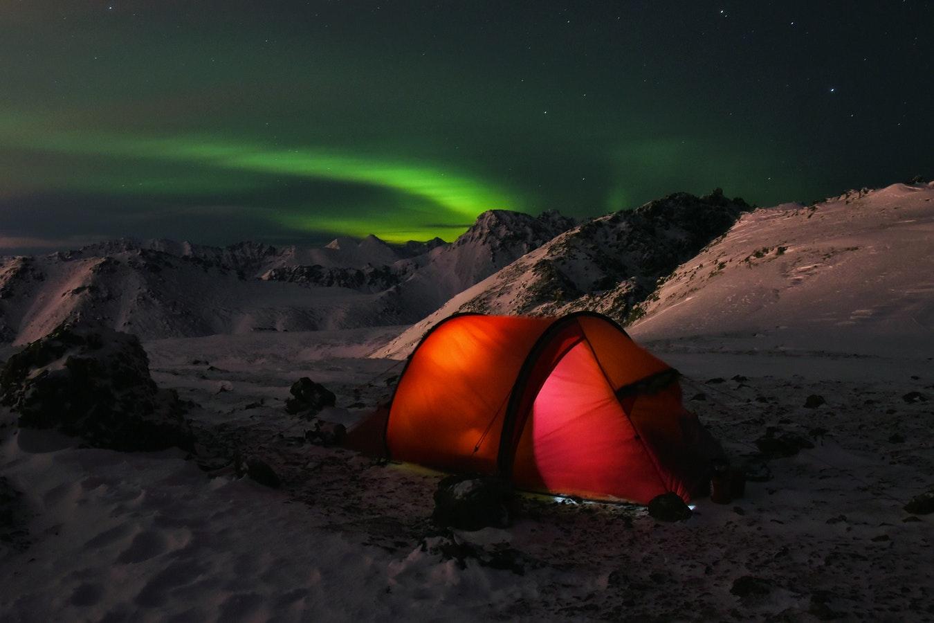 winter camping sky