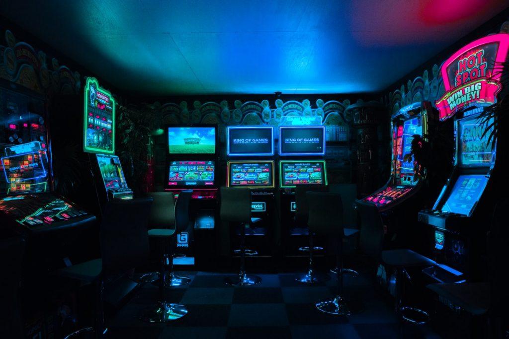 slot machines in dark