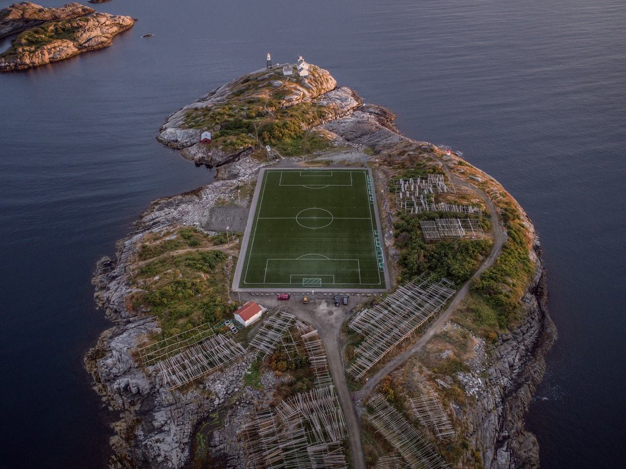 football field in sea