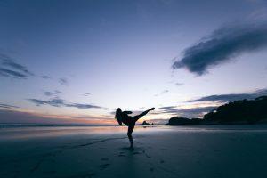martial arts on beach